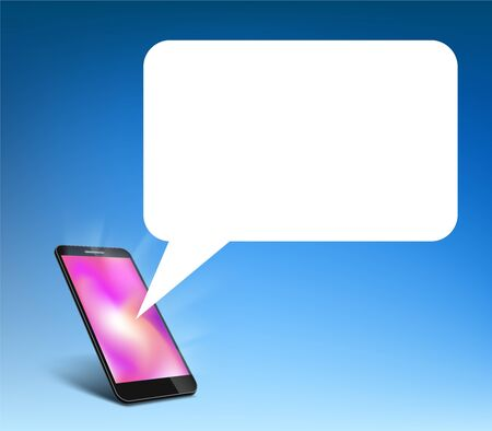 Smartphone with speech bubble chat on the screen. Vector background Stock Illustratie