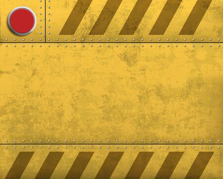 Metal blank yellow warning plate with stripes. Alarm red button. Vector background