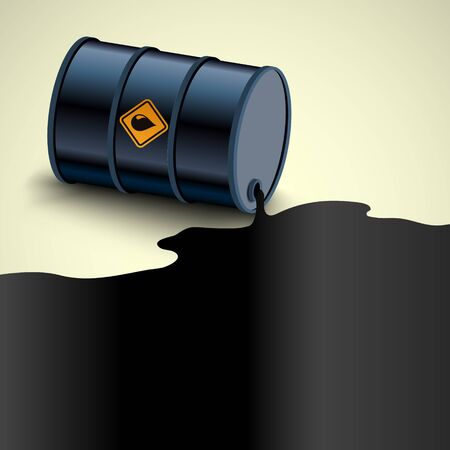 Barrel with Crude Oil. Fuel flows out. Environmental pollution. Vector illustration