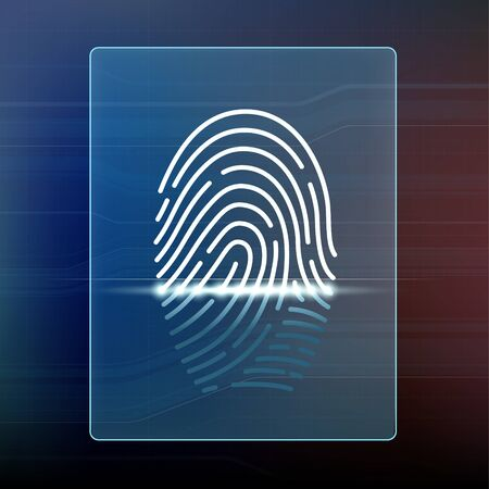 Fingerprint Scan. Data security and biometrics access. Vector illustration.