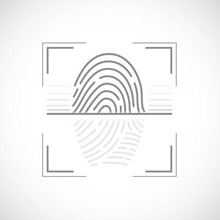 Icon fingerprint scan. Data security and biometrics access. Vector logo.
