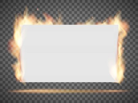 White empty banner or sheet of paper on fire. Isolated on a transparent background. Vector template