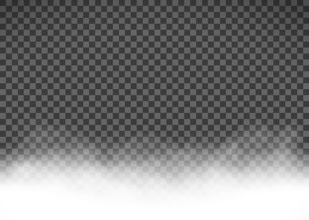 White smoke or fog isolated on a transparent background. Vector template. Stock Illustratie