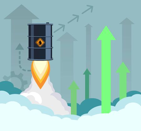 Oil barrel flies into the sky like a rocket. Financial growth in fuel prices. Vector illustration.  イラスト・ベクター素材