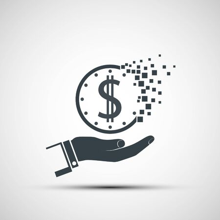 Icon hand holds a dollar. Vanishing coin passing in the sand. Vector logo illustration