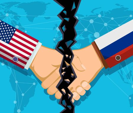 Trade war policy between the USA and Russia. Handshake of two people with a crack. Vector illustration.