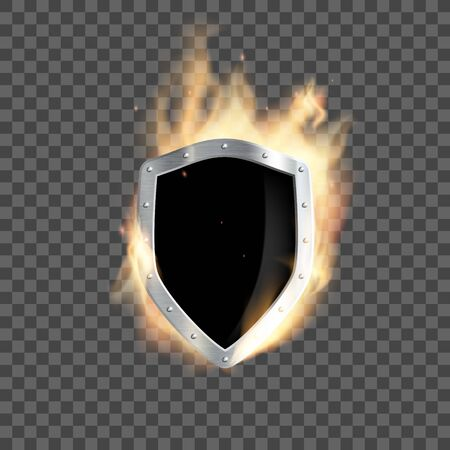 Metal heraldic shield burns with flame. Isolated on a transparent background. Vector illustration