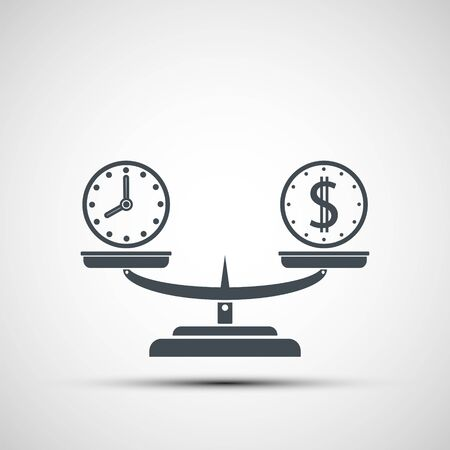Icon money and time balance on the scales. Weighing dollar coins and clock. Vector logo Illustration