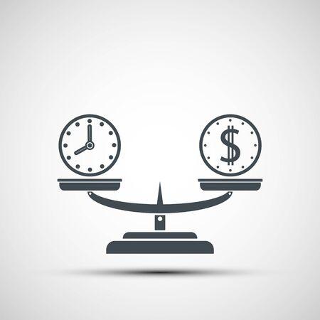 Symbol Geld- und Zeitbilanz auf der Waage. Wiegen von Dollarmünzen und Uhr. Vektorlogo Logo