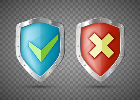 Shields Icons with green Check Mark and cross. Template isolated on transparent background. Vector illustration. Archivio Fotografico - 132385854