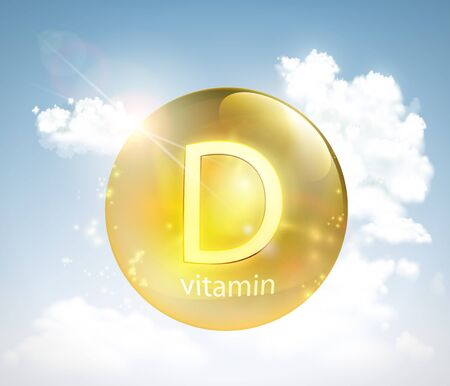 Pill vitamin D against the sky with the sun and clouds. Vector illustration. Stock Illustratie