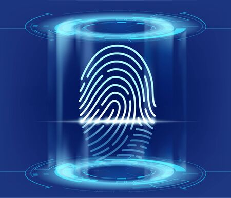 Futuristic HUD interface with fingerprint scan. Data security and biometrics access. Vector illustration.