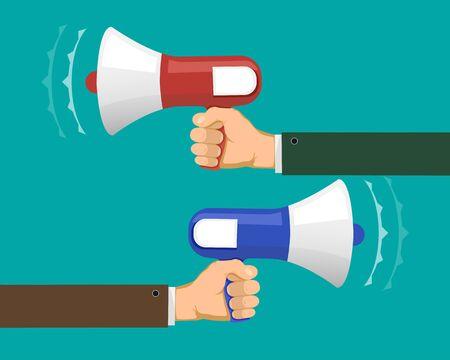 Two people against each other with megaphones. Propaganda or opposition. Vector illustration in flat graphic style.