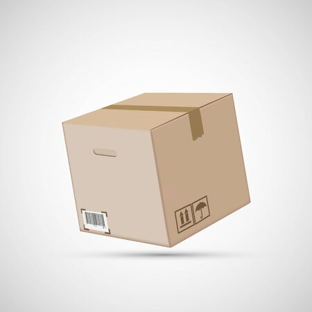 Closed cardboard box isolated on a white background. Vector illustration. Stock Illustratie