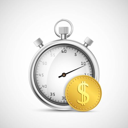 Timer or stopwatch icon next to a gold dollar coin. Vector illustration Stock Illustratie