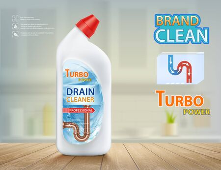 Drain cleaner. Detergent in plastic bottle and pipe with siphon. Label design. Vector illustration.