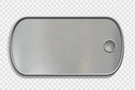 Blank Metal dog tag isolated on a transparent background. ID military soldier. Vector template.