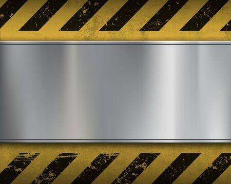 Empty metal plate on a yellow background with stripes. Warning sign. Vector blank template