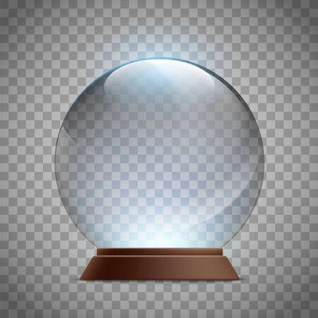 Boule à neige vide en verre de Noël. Modèle de boule magique de cristal. Maquette isolée sur fond transparent. Illustration vectorielle.
