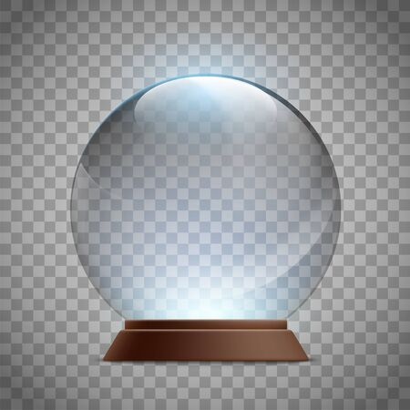 Christmas glass empty snow globe. Crystal magic ball template.