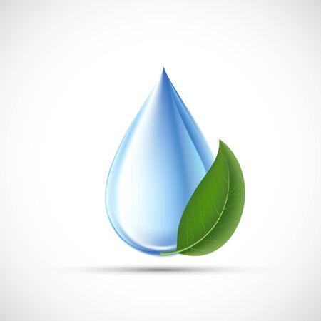 Goccia d'acqua con una foglia verde. Concetto ecologico. Isolato su uno sfondo bianco. Icona vettoriale