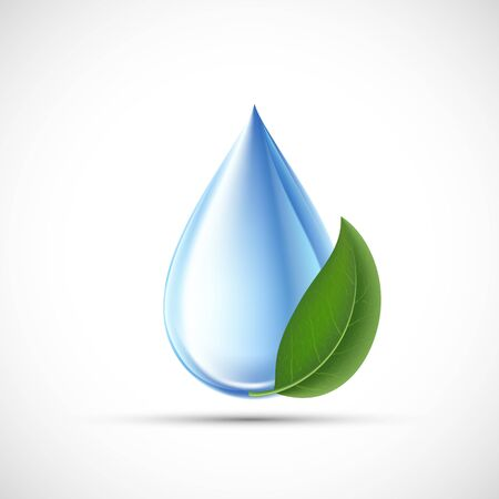 Kropla wody z zielonym liściem. Koncepcja ekologiczna. Pojedynczo na białym tle. Ikona wektor