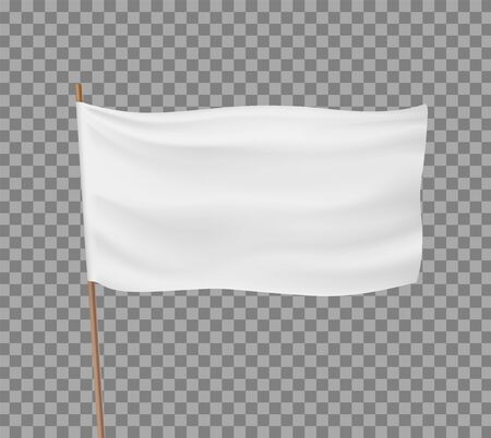 Blank white flag isolated on a transparent background. Template for advertising. Vector illustration.