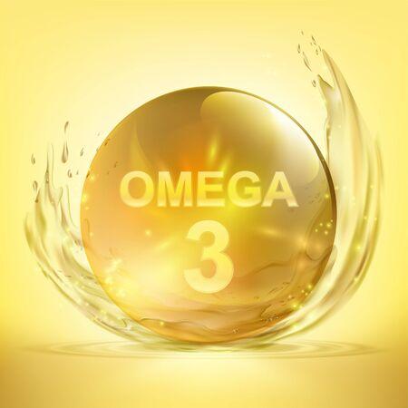 Pill with vitamin Omega 3. Drop of fish oil. Vector illustration. Standard-Bild - 133949352