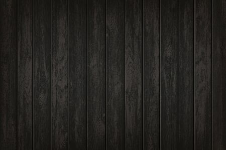 Texture of black wooden background. Timber banner with copy space template. Vector illustration.