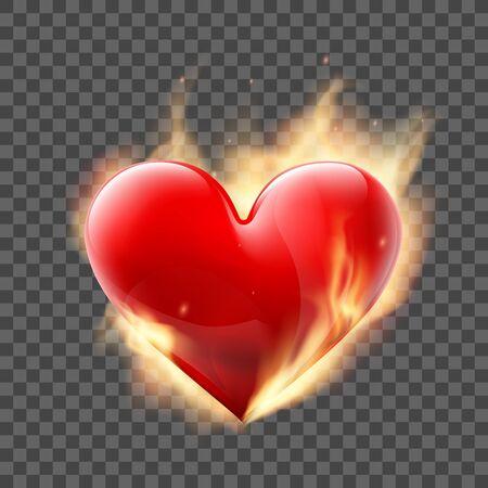 Czerwone serce płonie ogniem. Szablon na białym tle na przezroczystym tle. Ilustracja wektorowa.