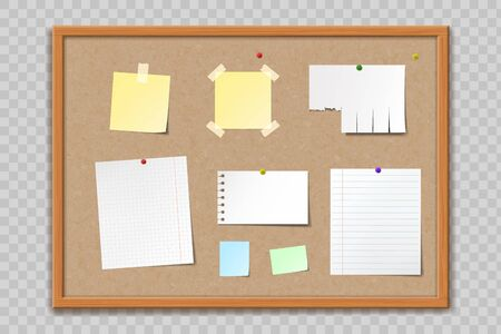 Textura de tablón de anuncios de corcho con marco de madera. Hojas de papel de plantilla en blanco y pegatinas. Aislado en un fondo transparente. Ilustración vectorial