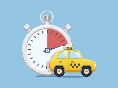 Yellow taxi car next to the stopwatch. Fast transportation service. Vector flat graphic illustration