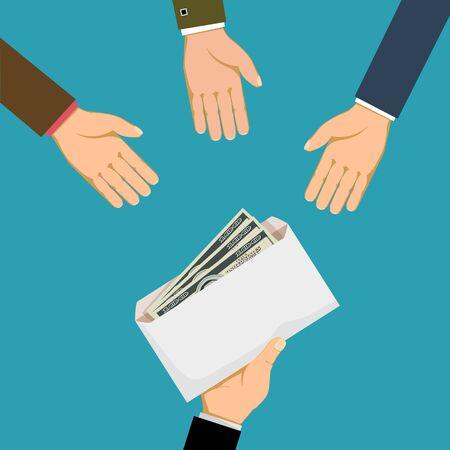 L'uomo dà una busta con denaro o tangenti agli uomini d'affari. Illustrazione grafica vettoriale piatta. Vettoriali