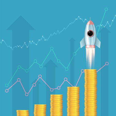 Gold coins are stacked as a growing financial chart. Business development and startup. Rocket takes off. Vector illustration