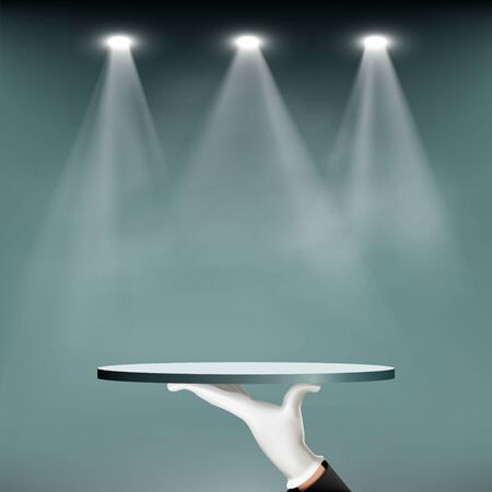Waiter holding an empty tray. Background for presentation and advertising is illuminated by spotlights. Vector illustration.