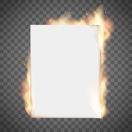 White empty sheet of paper on fire. Isolated on a transparent background. Vector template