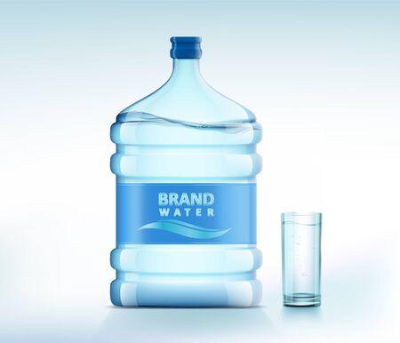 Botella con agua limpia y fresca. Vaso con una bebida. Recipiente de plástico para hielera y dispensador. Ilustración vectorial.