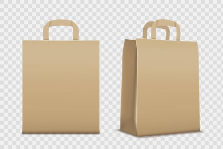 Paper empty shopping bag. Mockup isolated on a transparent background. Vector template Stock Illustratie
