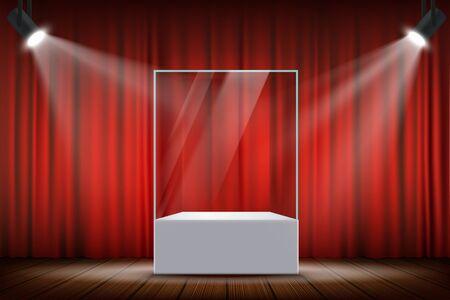 Szklana przeźroczysta gablota sześcianowa oświetlona reflektorami. Ilustracja wektorowa.