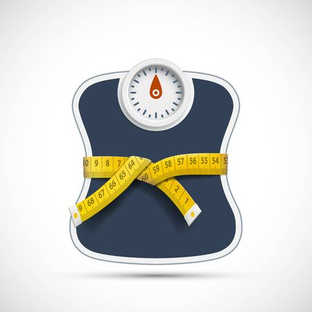 Weighing scales with measuring tape. Weight loss concept. Vector illustration. Stok Fotoğraf - 138440263