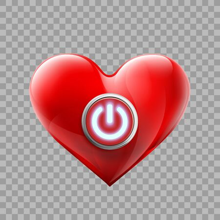 Red human heart with an energy button. Isolated on a transparent background. Vector illustration.