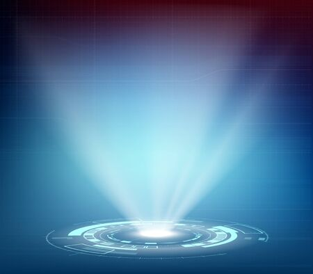 Futuristic projector or hologram with HUD interface. Spotlight on technological background.