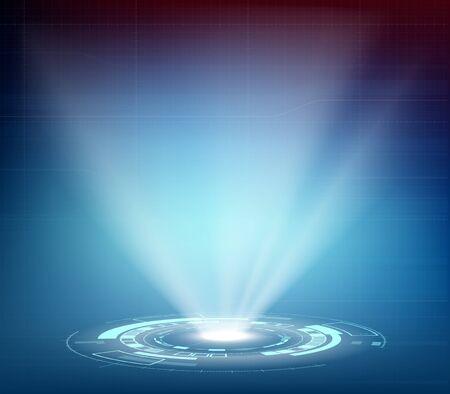 Projecteur ou hologramme futuriste avec interface HUD. Pleins feux sur l'arrière-plan technologique.