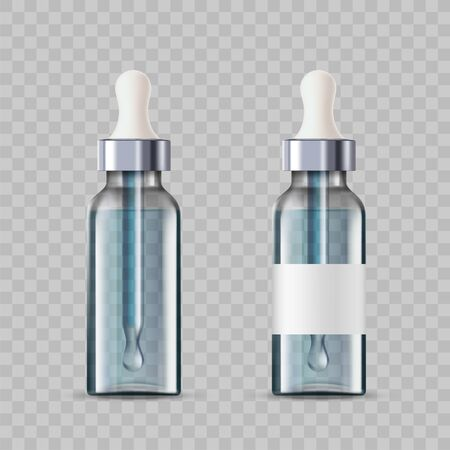 Mockup cosmetic bottles with a dropper or pipette. Template isolated on a transparent background. Vector illustration