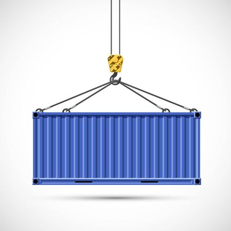 Cargo container hanging on a crane hook. Isolated on a white background. Vector illustration. Freight shipping.