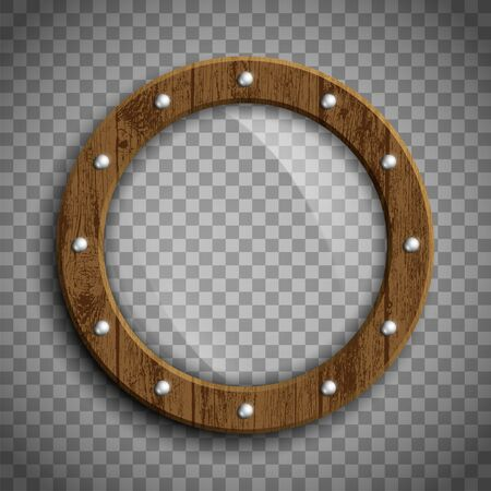 Round window porthole. Wooden frame. Template isolated on a transparent background. Vector illustration