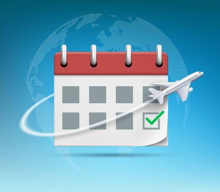 Plane flies around the organizer or calendar with green check mark. Vector illustration Stock Illustratie