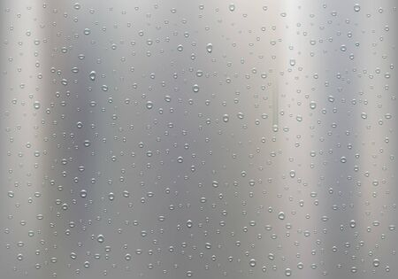 Drops of water on a polished metal plate. Vector background 일러스트
