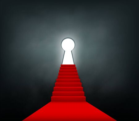 Staircase with a red carpet rises up to the keyhole. Concept of success and opportunities. Vector illustration.