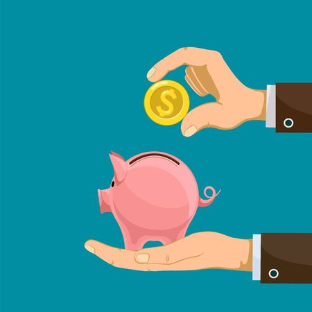 Hand puts a golden dollar coin into a piggy bank. Vector flat graphic illustration.